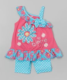 Look what I found on #zulily! Pink Flower Asymmetrical Tank & Blue Shorts - Toddler & Girls by Nannette Girl #zulilyfinds