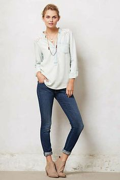 Anthropologie - Laced Chambray Popover