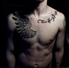 Cool Wing Tattoo Designs For Men On Chest