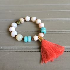 A personal favorite from my Etsy shop https://www.etsy.com/listing/245263516/amazonite-stretch-beaded-bracelet-with