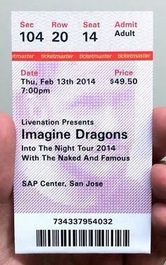 Dear Ticketmaster, Please Fix Your Crappy Tickets Ticket Design, Concert Tickets, Imagine Dragons, Fix You, Graphic Design Illustration, Coupons, Branding, Events, Bar