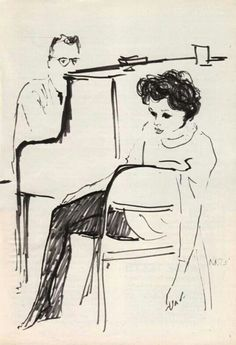Judy Garland, black and white sketch, 1960's