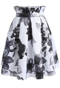 Contrast Watercolor Peony Printed Pleated Skirt - New Arrivals - Retro, Indie and Unique Fashion