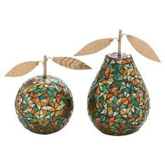 Like the shape of these, could be cool to incorporate into cushion design 2-Piece Mosaic Fruit Decor Set