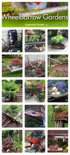 18 Whimsical Wheelbarrow Planters ~ curated by Organized Clutter