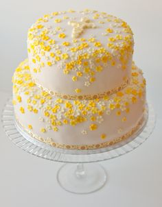 cake with yellow flowers.