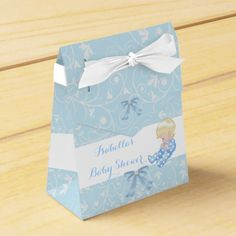 Blonde Boy Baby Shower Blue Cute Baby Favor Favor Box