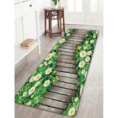 Flower Wood Path Print Flannel Nonslip Bath Rug - Wood Color W16 Inch * L47 Inch Mobile