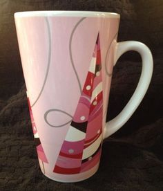Starbucks Coffee Co 2004 Tall Latte Mug Cup Pink Christmas Holiday Trees 16 oz in Collectibles, Advertising, Food & Beverage | eBay