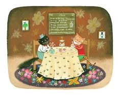 A Spot of Lunch Giclee Print Whimsical Cats at a Cat Cafe