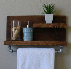 """Industriel 2 moderne rustique niveau flottant tablette de salle de bains avec porte-serviettes de 18"""""""