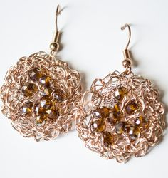 Copper Wire crochet earrings & Crystal by UnikacreazioniShop on Etsy