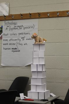 Teach your kids to be civil engineers:STEM, tower built out of 100 index cards and 12 inches of tape only. Needs to be 24 inches tall and hold up small stuffed animal! This one was done at a workshop I attended.