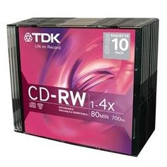 CD-RW 4X 10PK slim jewel case (48013) - by TDK. $32.51. Manufacturer:  TDK ElectronicsManufacturer Part Number:  48013Manufacturer Website Address:  Brand Name:  TDKProduct Name:  4x CD-RW MediaPackaged Quantity:  10Packing:  Slim Jewel CaseProduct Type:  CD Rewritable MediaStorage Capacity:  700 MBMaximum Recording Time:  1.33 HourMaximum Write Speed:  4xMedia Formats:  CD-RWForm Factor:  120mm