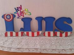 Diseño de Capitán América en letras de MDF #IriArt's todo para tus fiestas