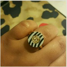 """Marc by Marc Jacobs Gold plated Ring Stripes are in with a touch of gold!  Brand new with tags and it comes with the dust bag! Size 7 Marc by Marc Jacobs Black and white with gold plated accent Retails for $58 Sorry, I don't trade If you have any questions please ask.  If you don't like the price, please use the offer button.  Have an amazing day!  """"Great Sense of Style"""" Marc by Marc Jacobs Jewelry Rings"""
