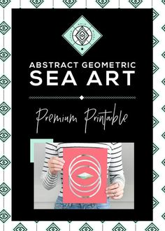 Large Abstract Decor Geometric Modern Coastal by littlegoldpixel