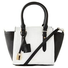 Isaac Mizrahi Imogen Mini Satchel in White and Black ($160) ❤ liked on Polyvore featuring bags, handbags, purses, accessories, bolsa, croc embossed leather handbags, crossbody handbag, isaac mizrahi handbags, hand bags and mini handbags