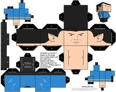 DIY coutout cubee paper character: Spock from Star Trek.