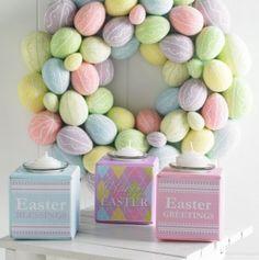 19 Inches Multi Pastel Egg Wreath