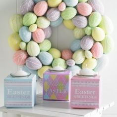 19 Inches Multi Pastel Egg Wreath