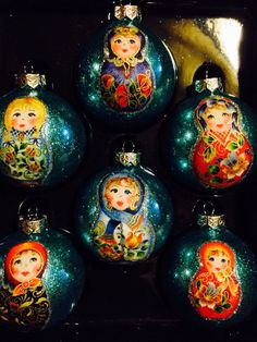 Russian nesting dolls Glass Ornaments van CreativeGitana op Etsy, $18.50