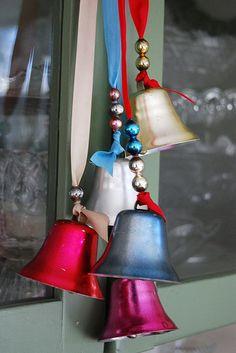 vintage aluminum Christmas bells