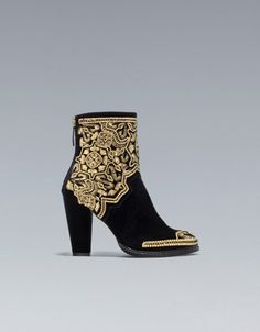GOLD EMBROIDERED HIGH-HEEL ANKLE BOOT - $160Ankle boots - Shoes - Woman - ZARA United States