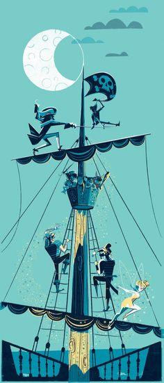 "Scotty Reifsnyder's Peter Pan-inspired print ""Night Duel"" created for Disney's WonderGround gallery."
