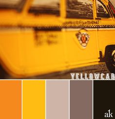 a yellow-taxi-inspired color palette // orange, yellow, gray, taupe, black