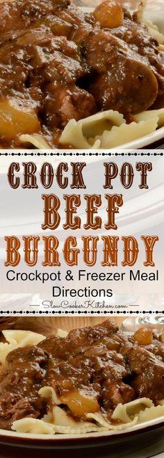 Slow Cooker Beef Burgundy (Crock Pot, Instant Pot, Freezer Meal) Crock Pot Slow Cooker, Slow Cooker Recipes, Crockpot Recipes, Cooking Recipes, Casserole Recipes, Cooking Tips, Freezer Cooking, Freezer Meals, Beef Burgundy Slow Cooker