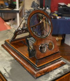 Large carved rosewood Victorian Wooden Post Card Stereoscope Viewer