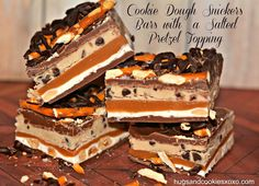 COOKIE DOUGH SNICKERS BARS WITH A SALTED PRETZEL TOPPING!!! - Hugs and Cookies XOXO