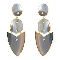 Grey Striped Agate Arrow Earrings    From a unique collection of vintage drop earrings at http://www.1stdibs.com/jewelry/earrings/drop-earrings/
