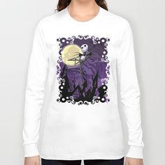 Halloween Purple Sky with jack skellington Long Sleeve T-shirt #longsleeve #tshirt #tee #clothing #artdesign #vividcolors #gentle #indoor #outdoor #sugarskull #tattoo #folkart #floral #dayofthedead #pattern #diadelosmuertos #halloween #purplesky