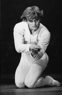 Mikhail Baryshnikov in Roland Petit's 'The Queen of Spades'. The maniacal obsession with the magic secret of three cards destroys Hermann's love for Lisa and drives him mad. In the final of the ballet Hermann is lost between fancy and reality.
