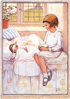 Nursing the Doll  - Mabel Lucie Attwell