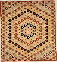 Quilt (or decorative throw). Hexagon or Mosaic pattern.. Maker: Possibly Caroline Brooks Gould. date: ca. 1870