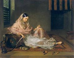 Muslim Lady Reclining, 1789 (Oil on Canvas), Francesco Renaldi, Yale Center for British Art, Paul Mellon Collection Old Paintings, Indian Paintings, Miniature Paintings, Indian Aesthetic, Vintage India, Mughal Empire, Sacred Art, Renaissance Art, Indian Art