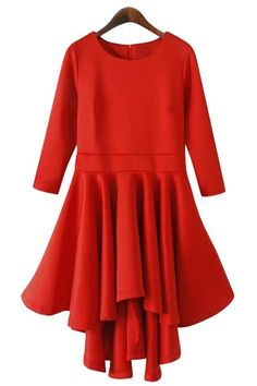 Solid Color 3 4 Sleeve Flouncing Dress RED  Long Sleeve Dresses  804b96e5a
