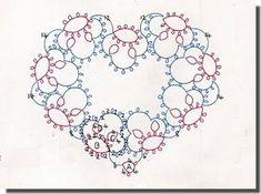 Queen of Hearts tatted heart by Mary Konior Shuttle Tatting Patterns, Tatting Patterns Free, Needle Tatting, Tatting Lace, Homemade Christmas Tree, Tatting Earrings, Tatting Tutorial, Easy Stitch, Crochet Snowflakes