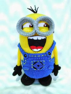 Amigurumi Laughing Minion - Face ideas/options, add gleam to eyes, draw in teeth lines instead (sharpie or fabric marker??), bigger front pocket to incorporate Gru logo