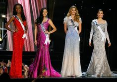 Miss Universe contestants Deshauna Barber of the United States, Carolyn Carter of the U.S. Virgin Islands, Mariam Habach of Venezuela and Le Hang of Vietnam, during the evening gown preliminary competition of the Miss Universe beauty pageant at the Mall of Asia Arena on Thursday, Jan. 26, 2017.#rexfabrics #fabrics #madetomeasure #hautecouture #couture #tecidos #telas #shoppingmiami #miami #fabricstoremiami #fabulous #fashion #fashionpolice #women #women
