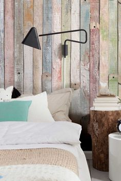 Love this wall for a girls room. vintage wood wall mural. Don't have a bohemian wood wall in your room? stick one up.