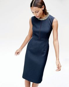 The J.Crew women's portfolio dress. Made in matelassé fabric—a stitching technique that's similar to quilting (but fancier because it's French). It's also what gives this shift dress a subtle textured pattern.