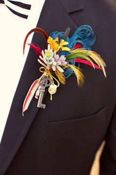 circus wedding boutonniere - photo by Jagger Photography http://ruffledblog.com/irvine-circus-wedding