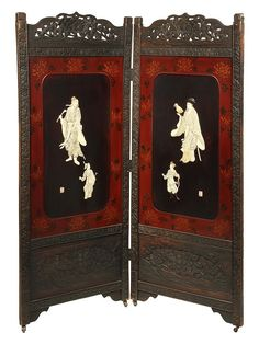 """TWO-FOLD JAPANESE SCREEN - Screen with carved wooden frame, reticulated top, lacquered panels with signed ivory portraits of two elders with attendants, one holds a sceptre, the other an exotic bird. Set on brass casters. 61"""" x 25"""" panels."""