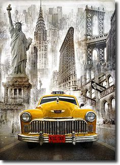 New York Taxi - Diy Diamond Embroidery Painting Kit. On Sale New York Taxi, New York City, Top Photos, Illustrations Vintage, Foto Transfer, Richard Neutra, Paint By Number, Diy Painting, New York Painting