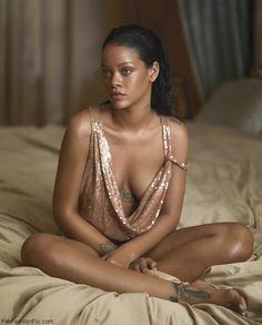 Rihanna wearing Saint Laurent by Hedi Slimane sequined dress for Vogue US April 2016. #vogue #rihanna