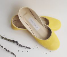 Summer Yellow Leather Ballet Flats by The White Ribbon Dream Shoes, Crazy Shoes, Me Too Shoes, Yellow Leather, Soft Leather, What's My Favorite Color, Leather Ballet Flats, Mellow Yellow, Fashion Watches